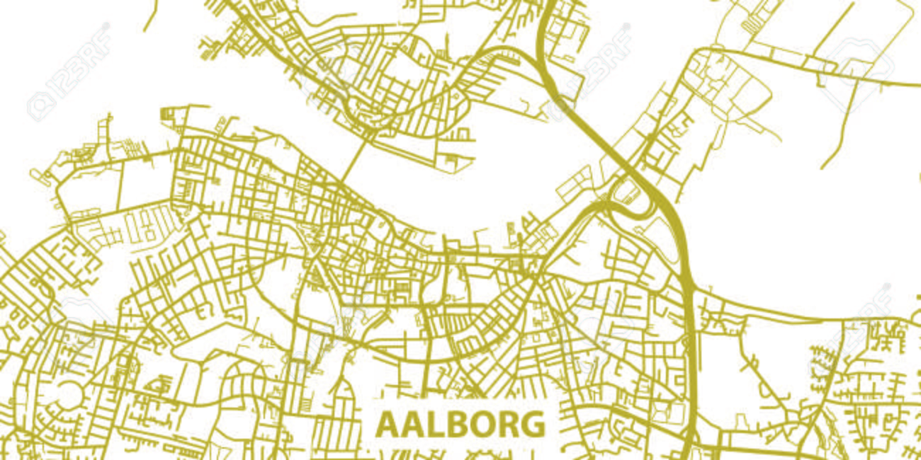 Detailed Vector Map Of Aalborg In Gold With Title Scale 130