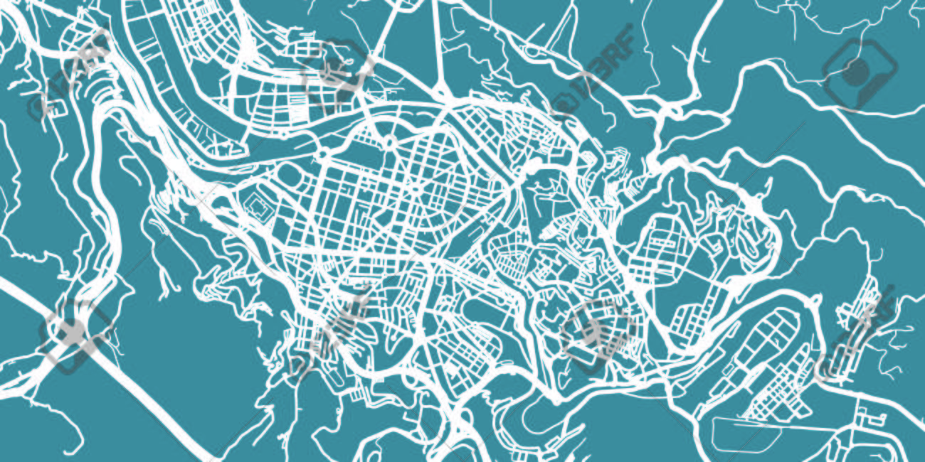 Detailed Vector Map Of Bilbao Scale 130 000 Spain Royalty Free