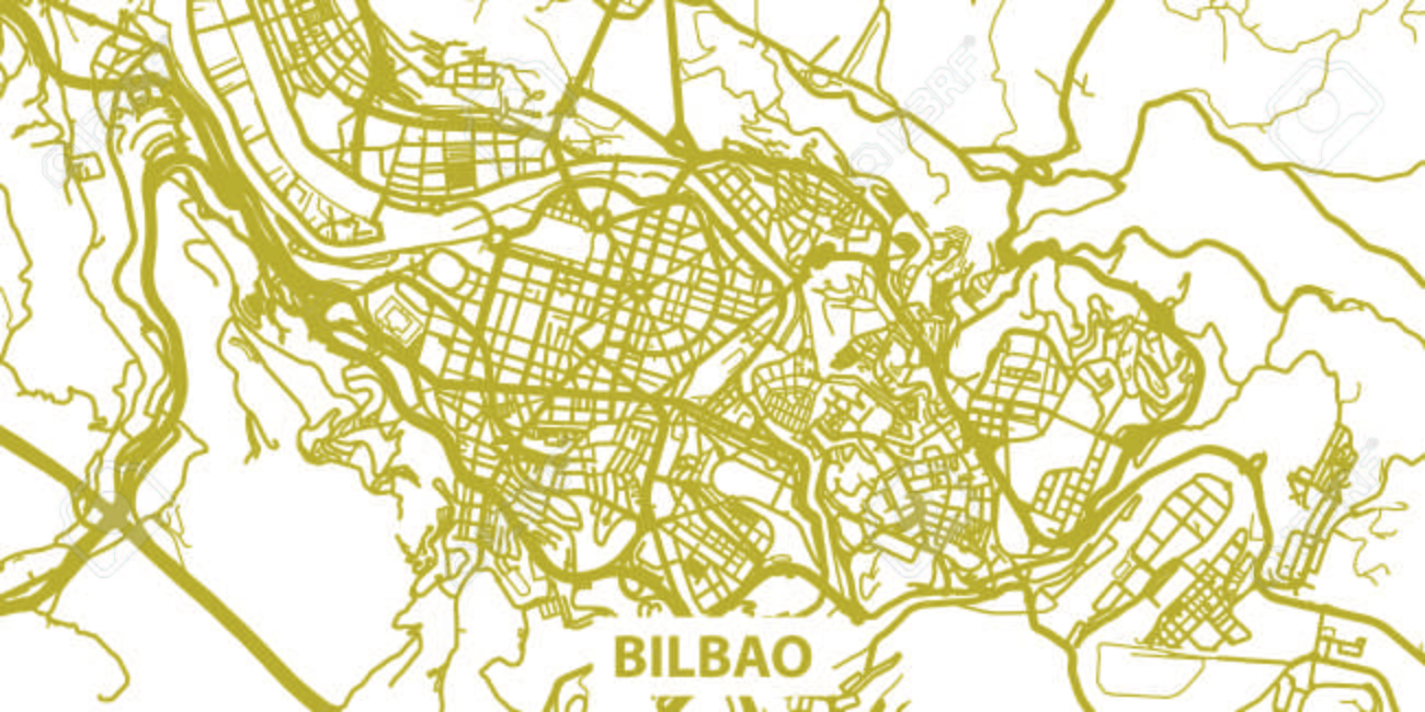 Bilbao On Map Of Spain.Detailed Vector Map Of Bilbao In Gold With Title Scale 1 30