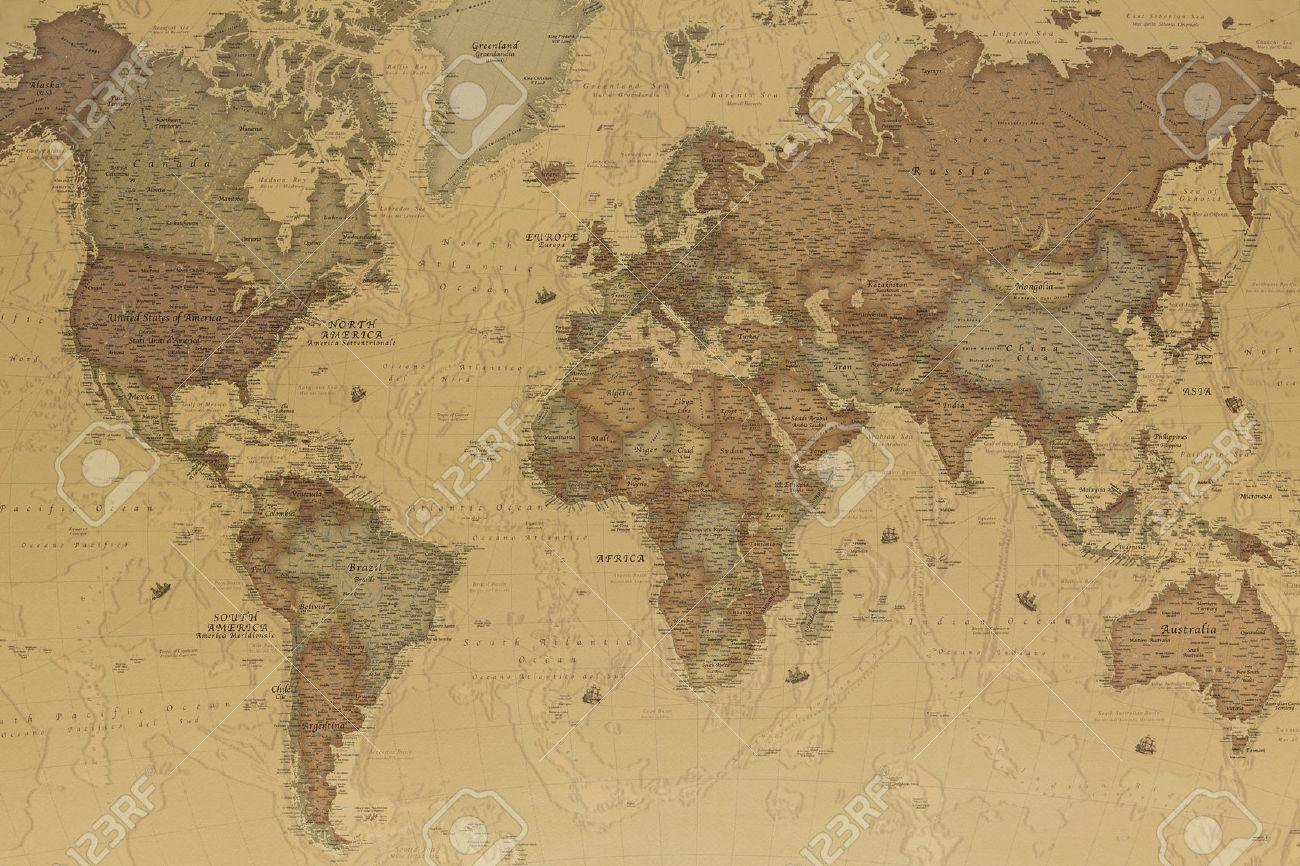 carte ancienne du monde Carte Géographique Ancienne Du Monde Avec Les Noms Des Pays Banque