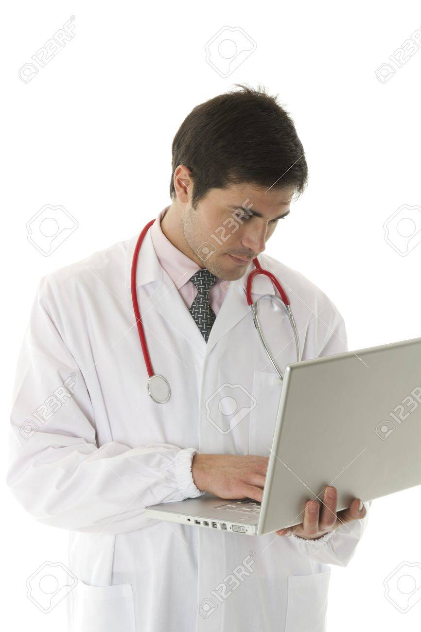 Doctor working on his laptop Stock Photo - 7112543