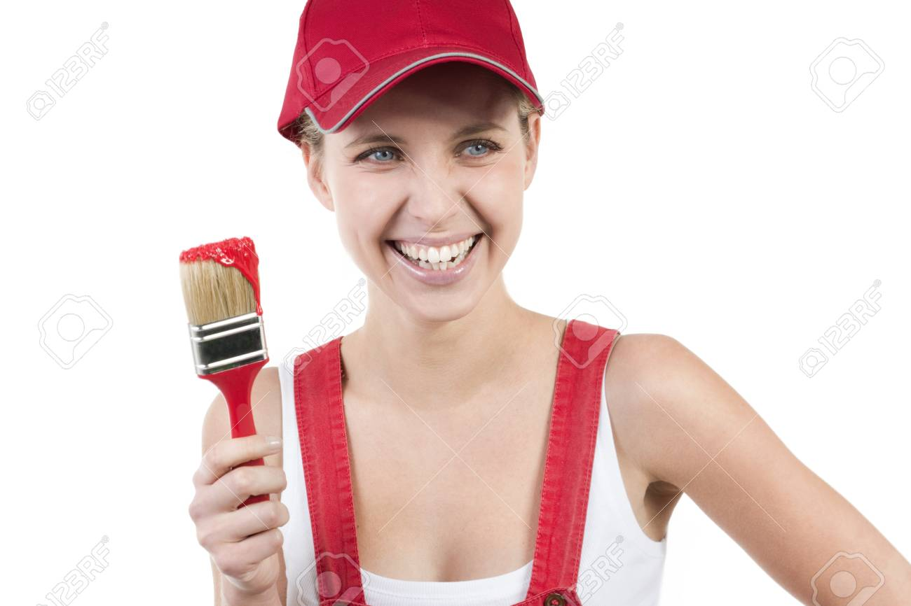 Young woman with paintbrush Stock Photo - 7452755
