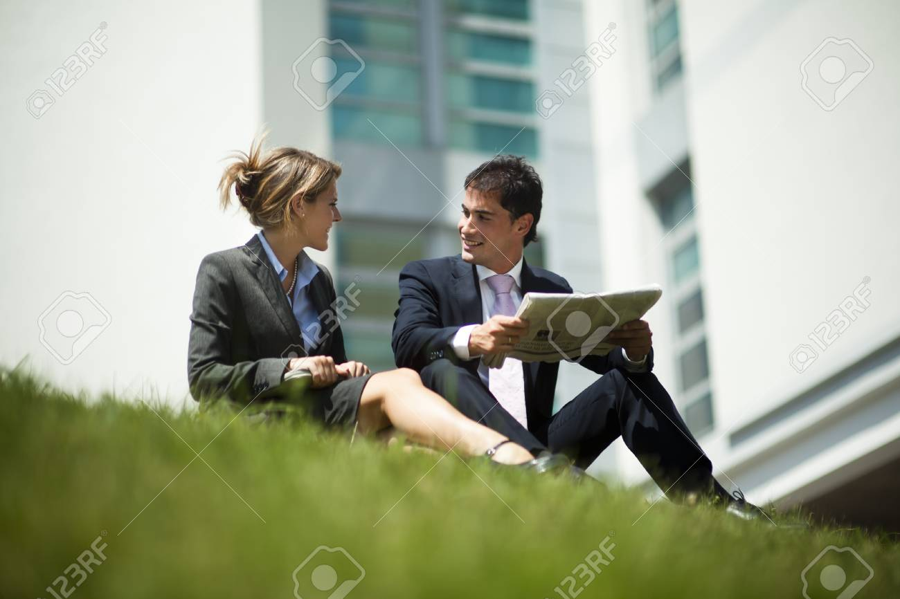 Businesspeople Having Break Outdoors Stock Photo - 11206219