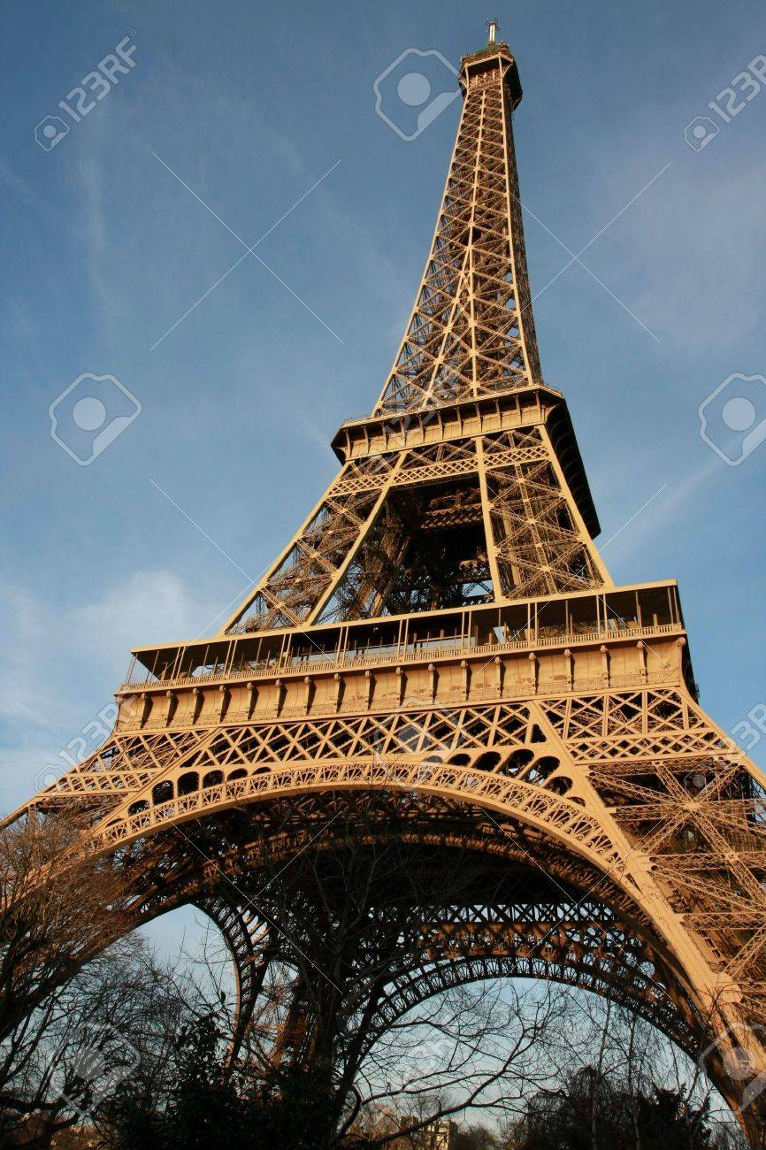 Wide-angle view of the Eiffel Tower by sunset Stock Photo - 2638978
