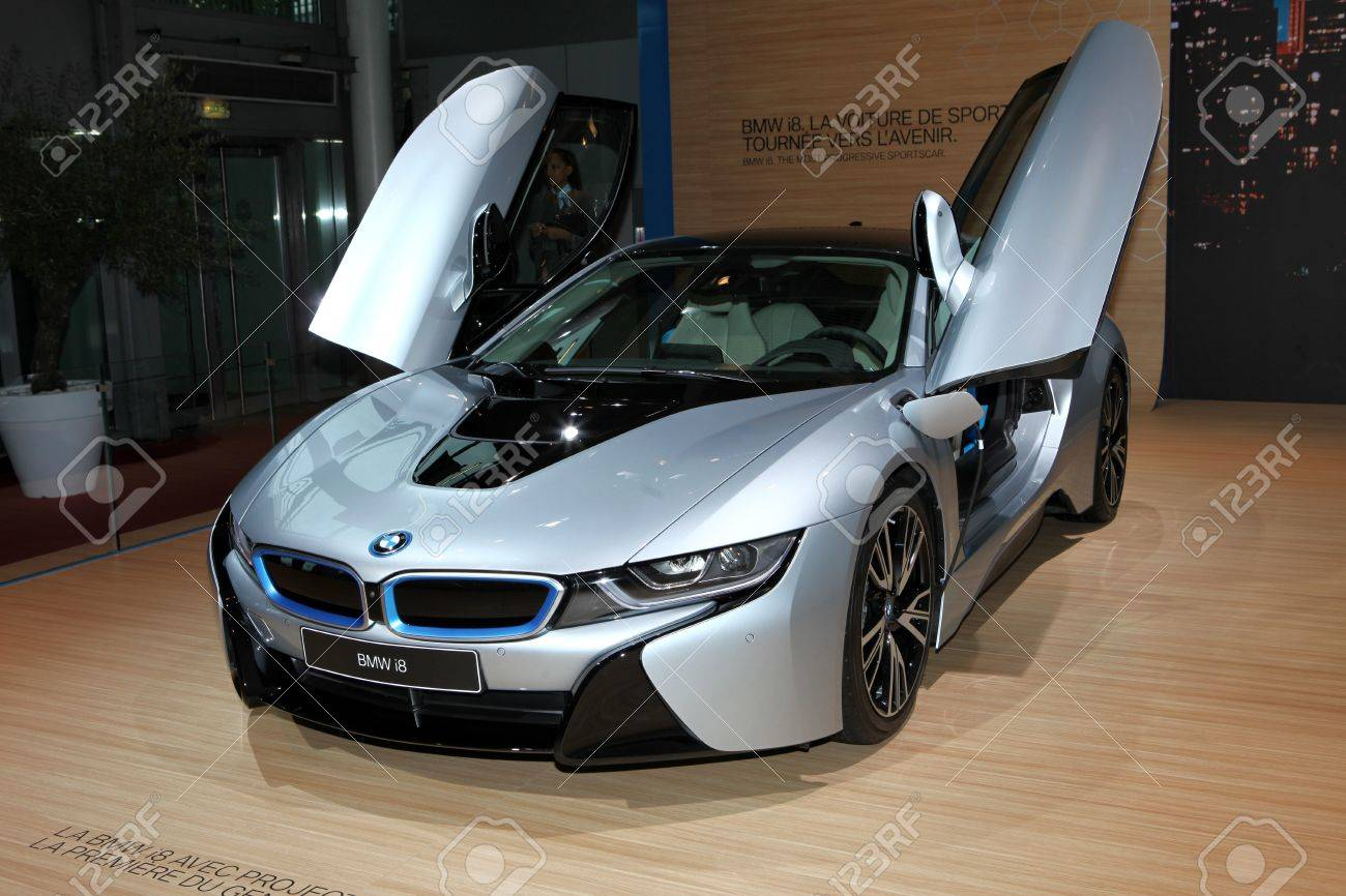 The New Bmw I8 Sports Car Displayed At The 2014 Paris Motor Show