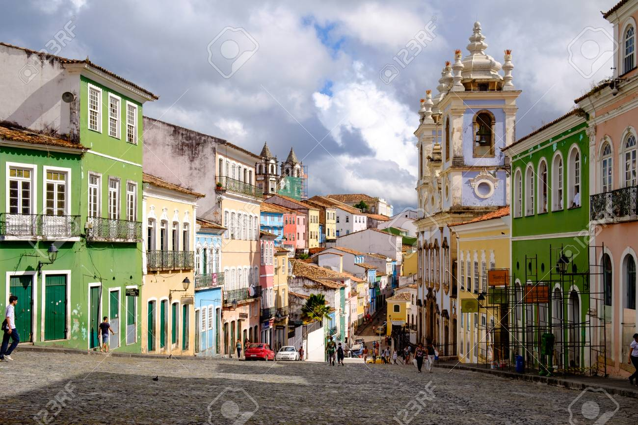 Colorful houses in the historic center of Salvador in Bahia / Brasil. A myth says that every cobblestone is one slave who died in this place - 95618427