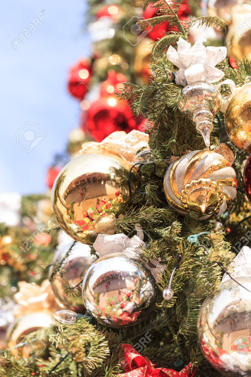Red Green Gold Silver Christmas Ornaments Hanging On A Christmas Stock Photo Picture And Royalty Free Image Image 53847342