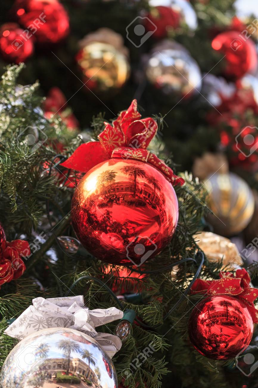 Red Green Gold Silver Christmas Ornaments Hanging On A Christmas Stock Photo Picture And Royalty Free Image Image 53847374