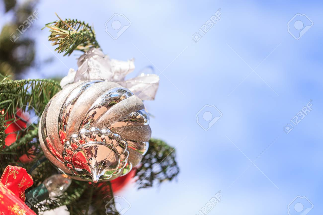 Red Green Gold Silver Christmas Ornaments Hanging On A Christmas Stock Photo Picture And Royalty Free Image Image 53847117