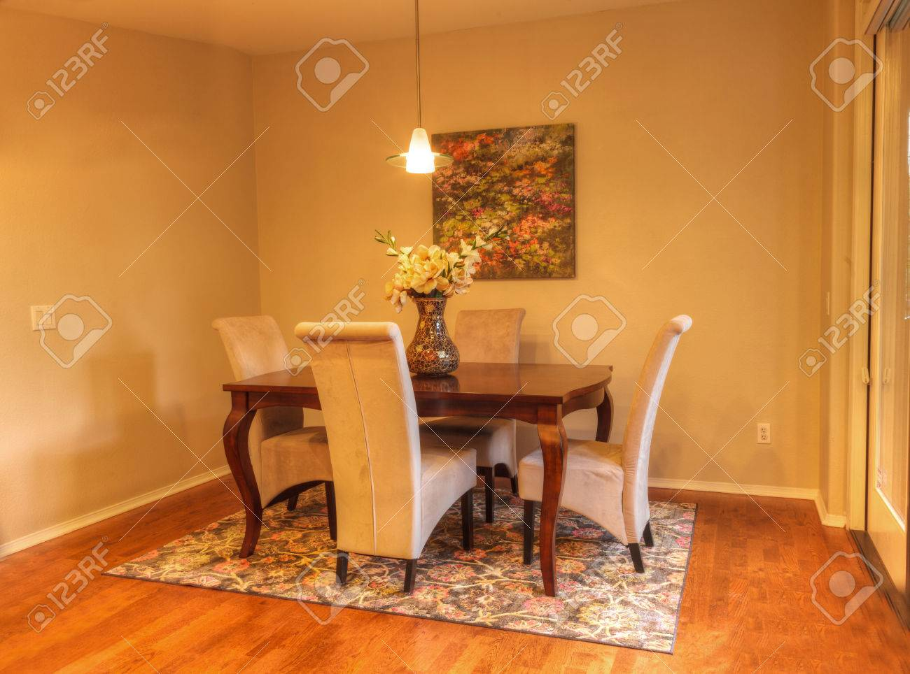 Small Dining Room With Recessed Lighting, Wood Floors And Feng ...