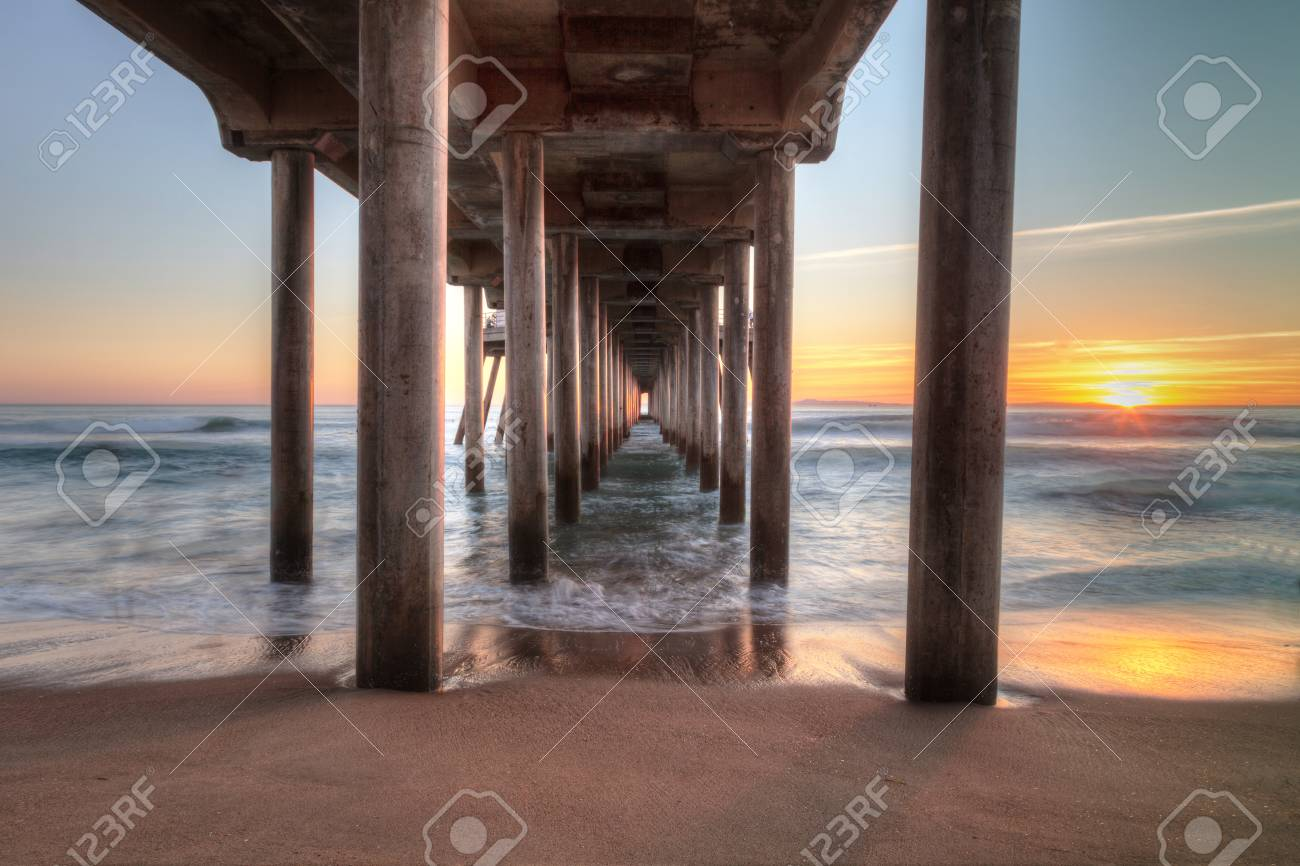 Hdr Sunset Behind The Huntington Beach Pier In Southern California Stock Photo Picture And Royalty Free Image Image 68499518