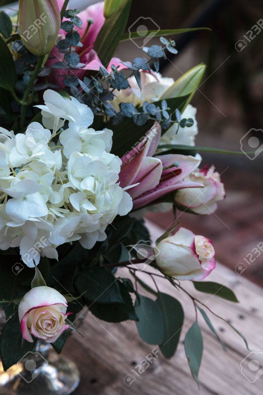 Wedding Bouquet Of White And Pink Flowers Including Roses Hydrangea