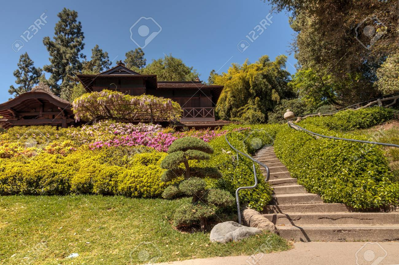 Los Angeles, California, April 1, 2017: Japanese Garden At The ...