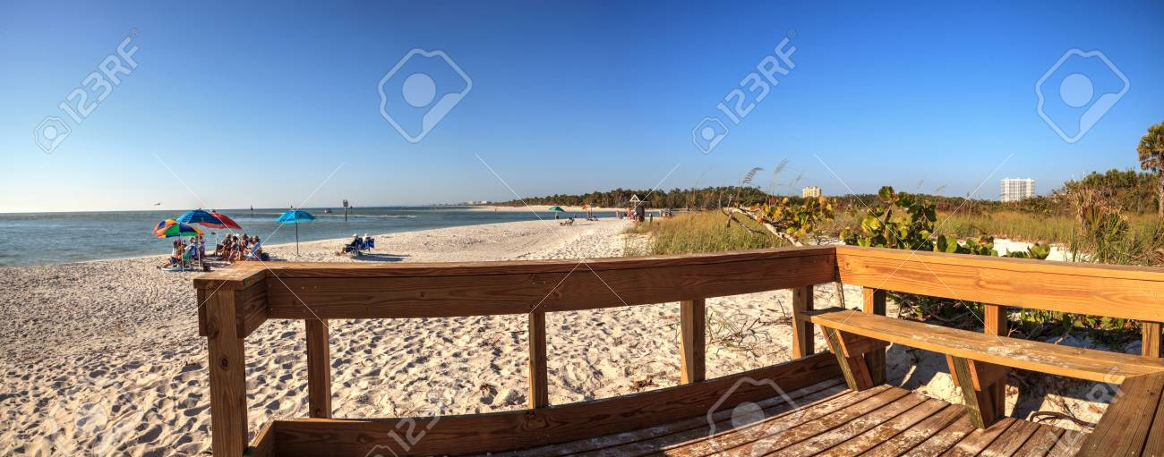 Wood Bench On The White Sand Beach Of Delnor Wiggins Pass State Stock Photo Picture And Royalty Free Image Image 98523327