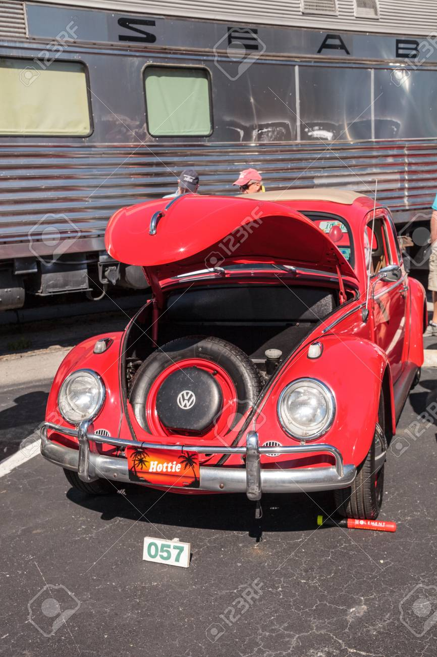 Naples, Florida, USA – March 23,2019: Red 1963 VW Bug at the