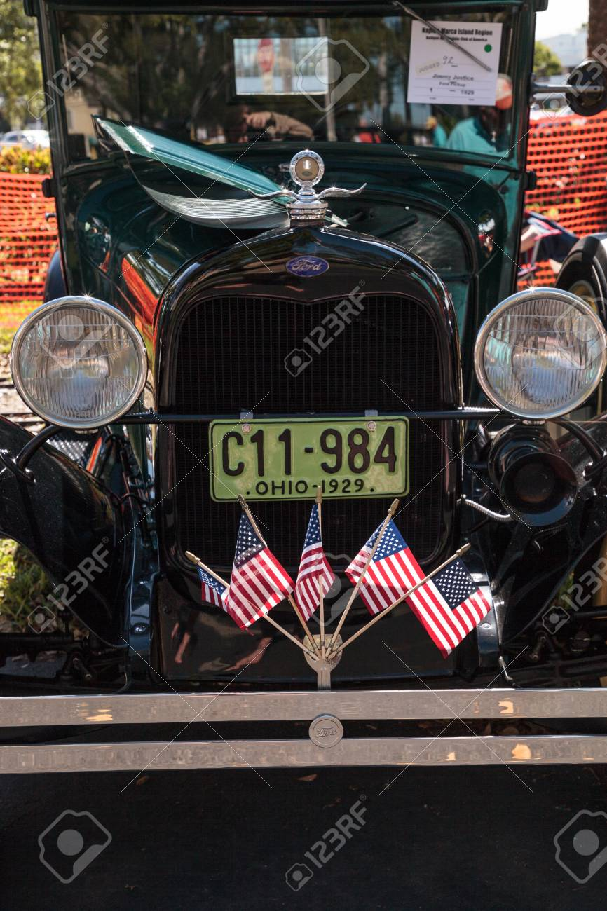 Naples, Florida, USA – March 23,2019: Black 1929 Ford Pickup