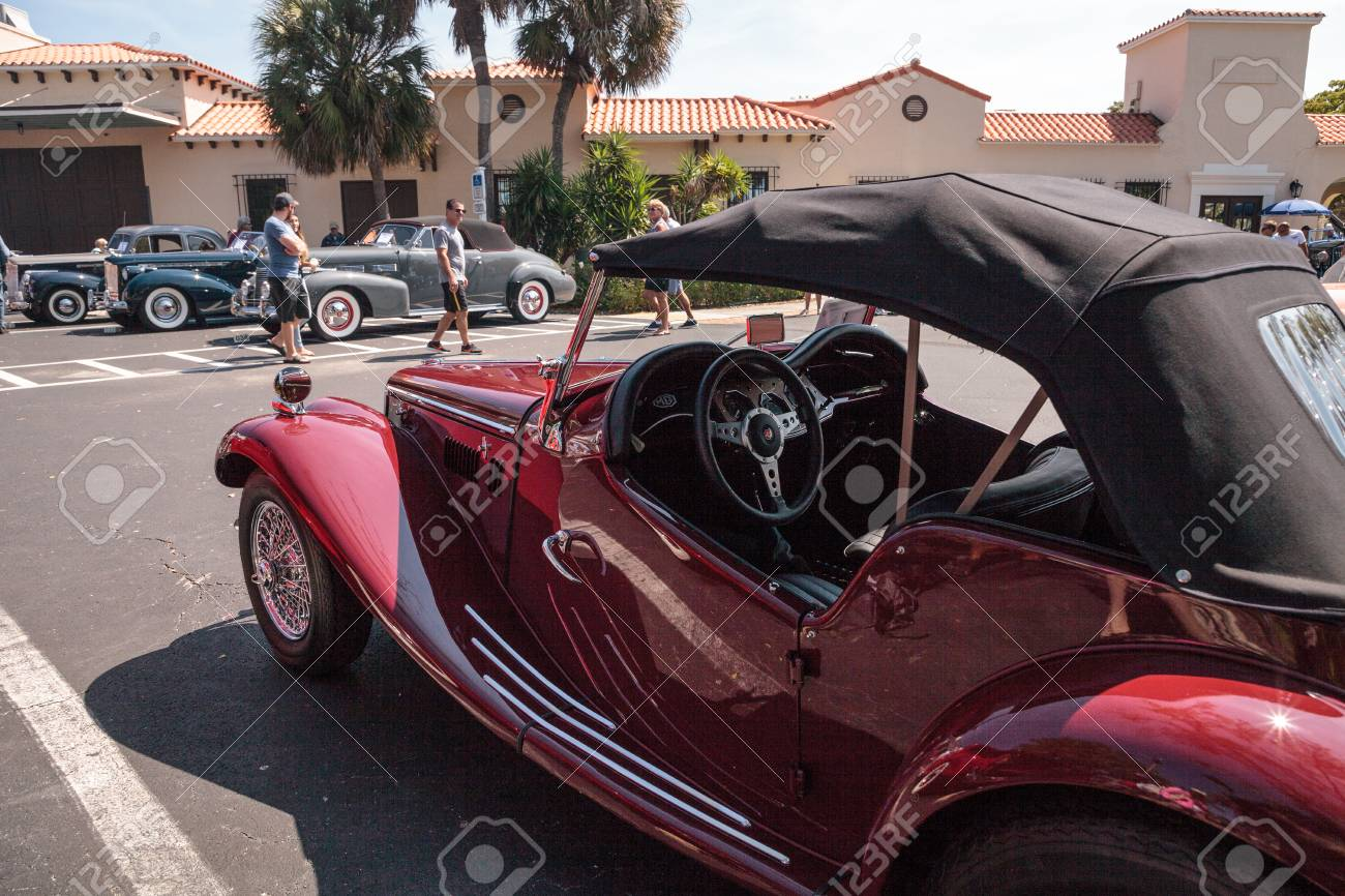 Naples Car Show >> Naples Florida Usa March 23 2019 Red 1954 Mg Tf At The