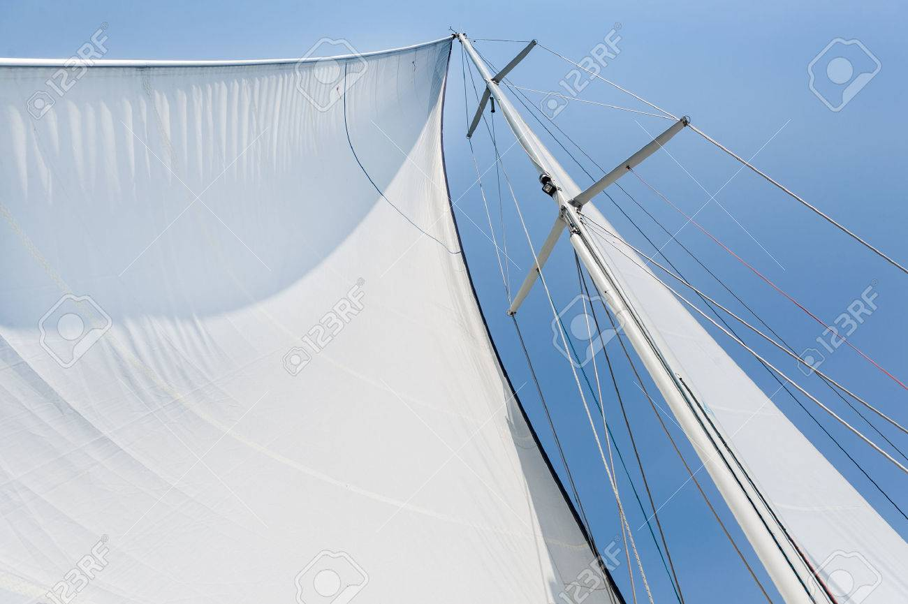 Genoa Sail Is Hoisted On Sailing Boat Mast Stock Photo Picture And Royalty Free Image Image 31414751