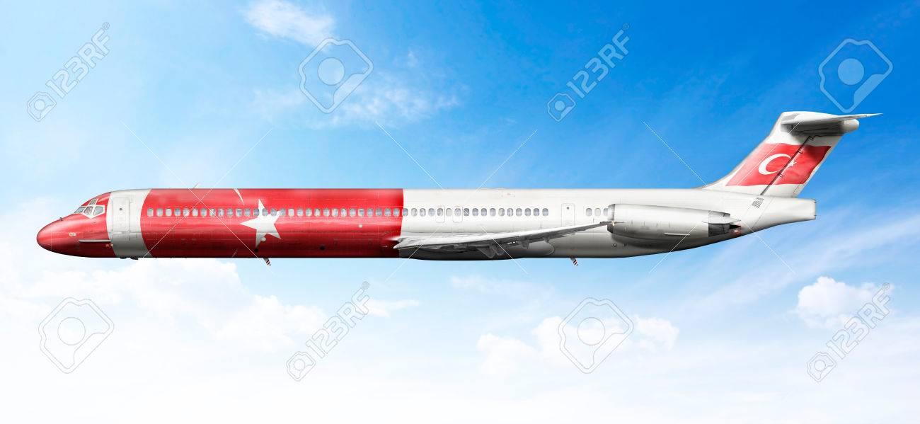 airplane profile with fictional livery of the turk flag stock photo