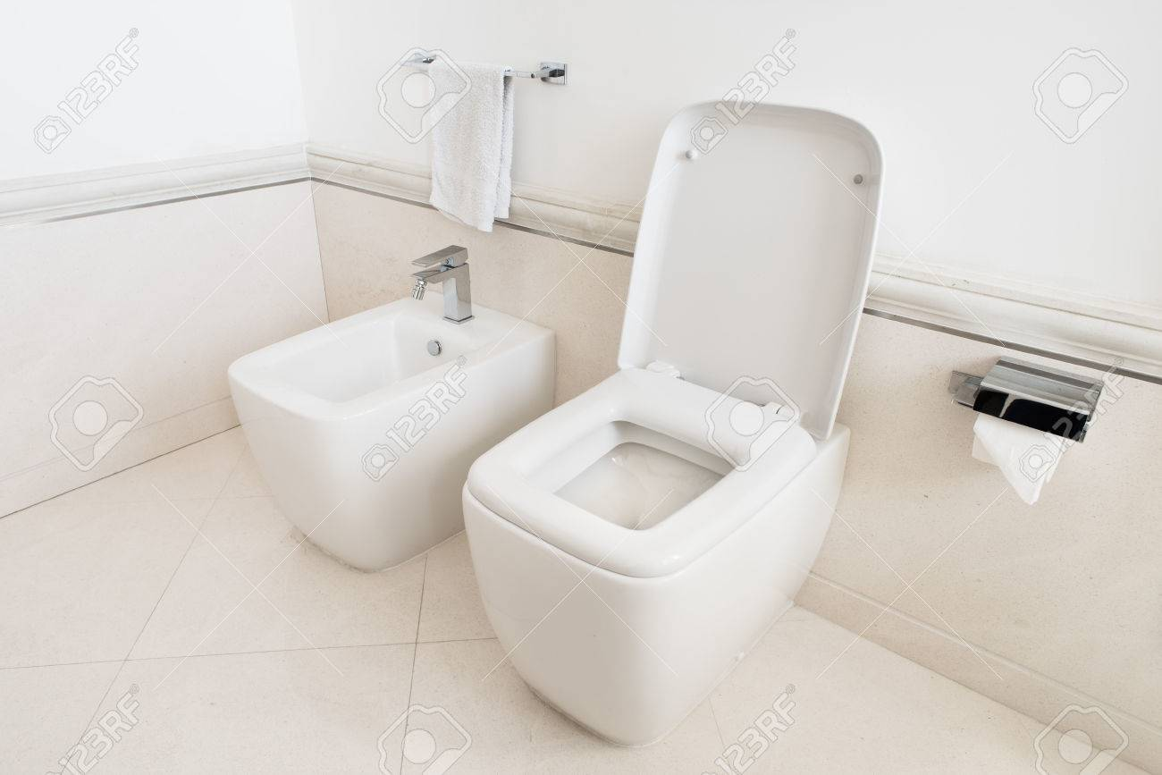 Terrific Toilet And Bidet In A Modern Bathroom Raised Lid Machost Co Dining Chair Design Ideas Machostcouk
