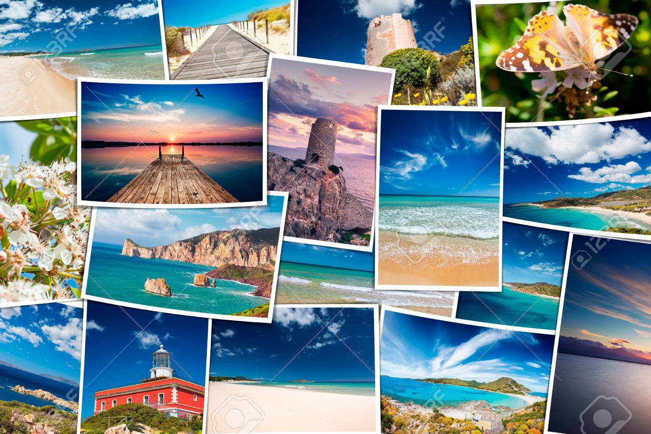 Collage Of Seaside Travel Photos South Sardinia Holiday Photo Stock Photo Picture And Royalty Free Image Image 57268235