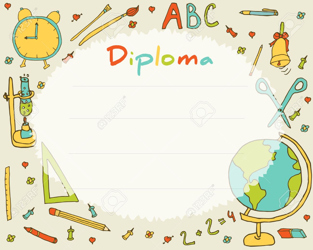 preschool elementary school kids diploma certificate background  preschool elementary school kids diploma certificate background design template school diploma stock vector