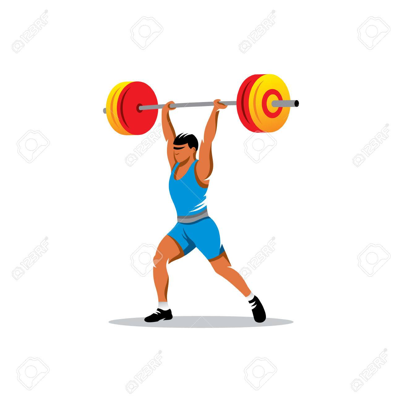 Strong and handsome man lifting weights isolated on white background - 31880651