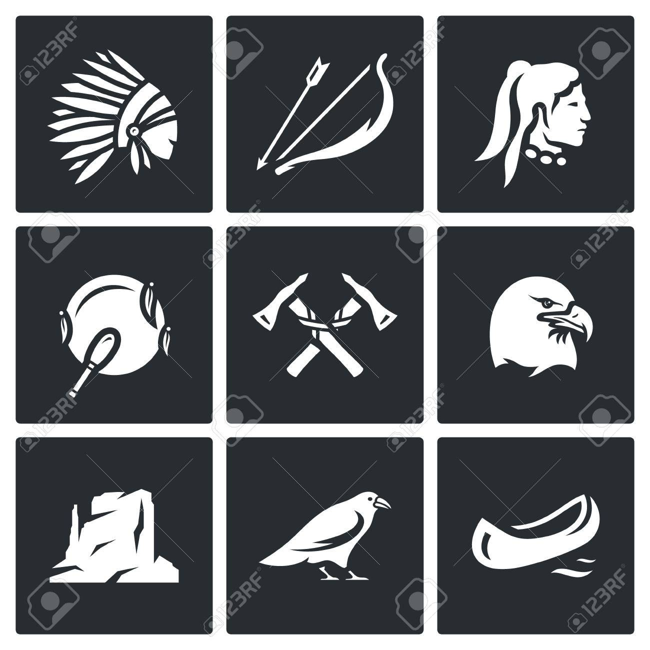 Indian Weapon Territory Animal Bird Symbols Collection Royalty