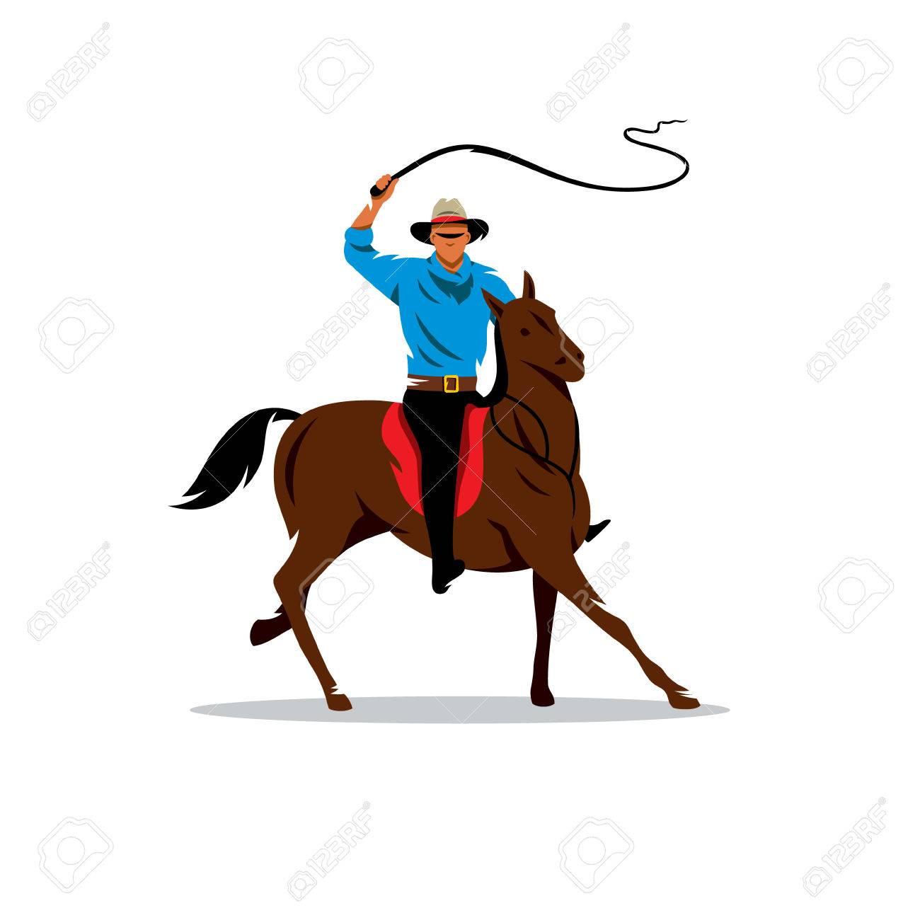 彼はむちを振る馬のライダー。白い背景に分離のイラスト素材・ベクタ ...