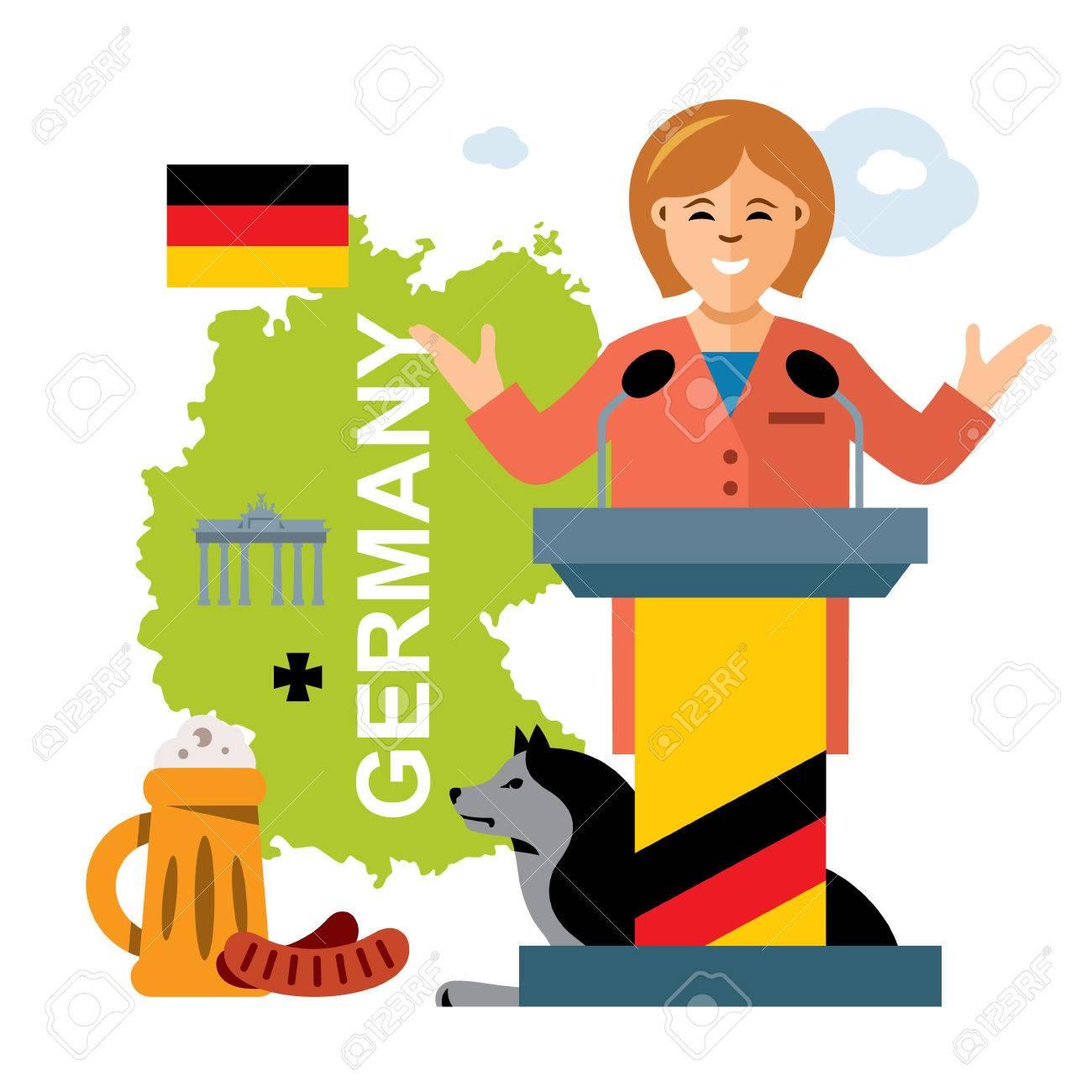 Política Alemana Del Vector Mujer Política Ilustración De Dibujos