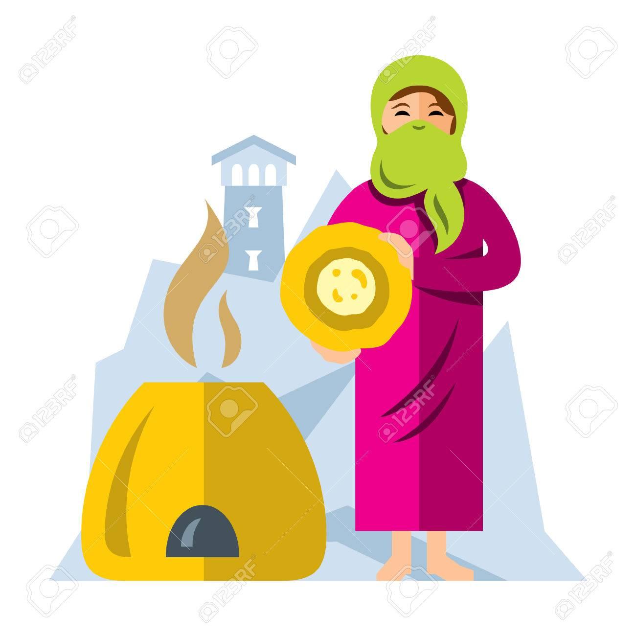 Vector Muslim Arab woman baking bread. Flat style colorful Cartoon illustration. - 74005080