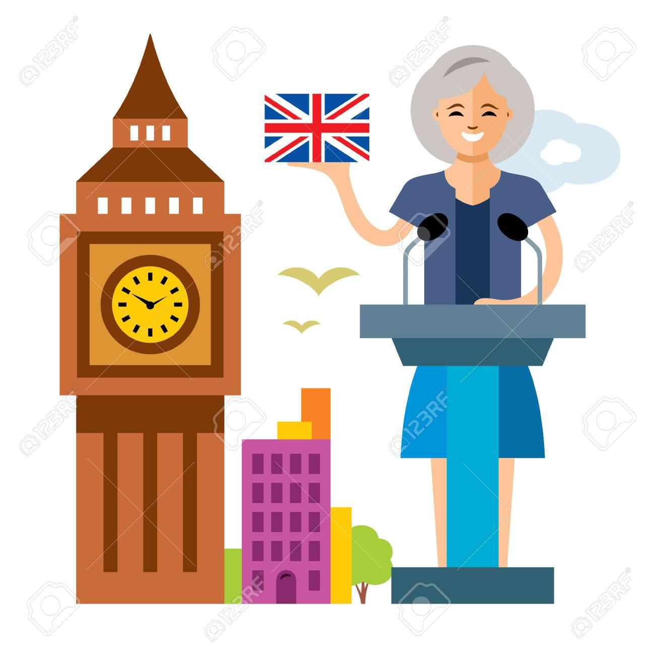 Política De Vector De Reino Unido Mujer Política Ilustración De