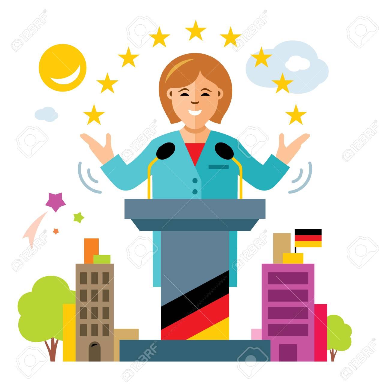 Vector De La Política Alemana Mujer Política Ilustración De