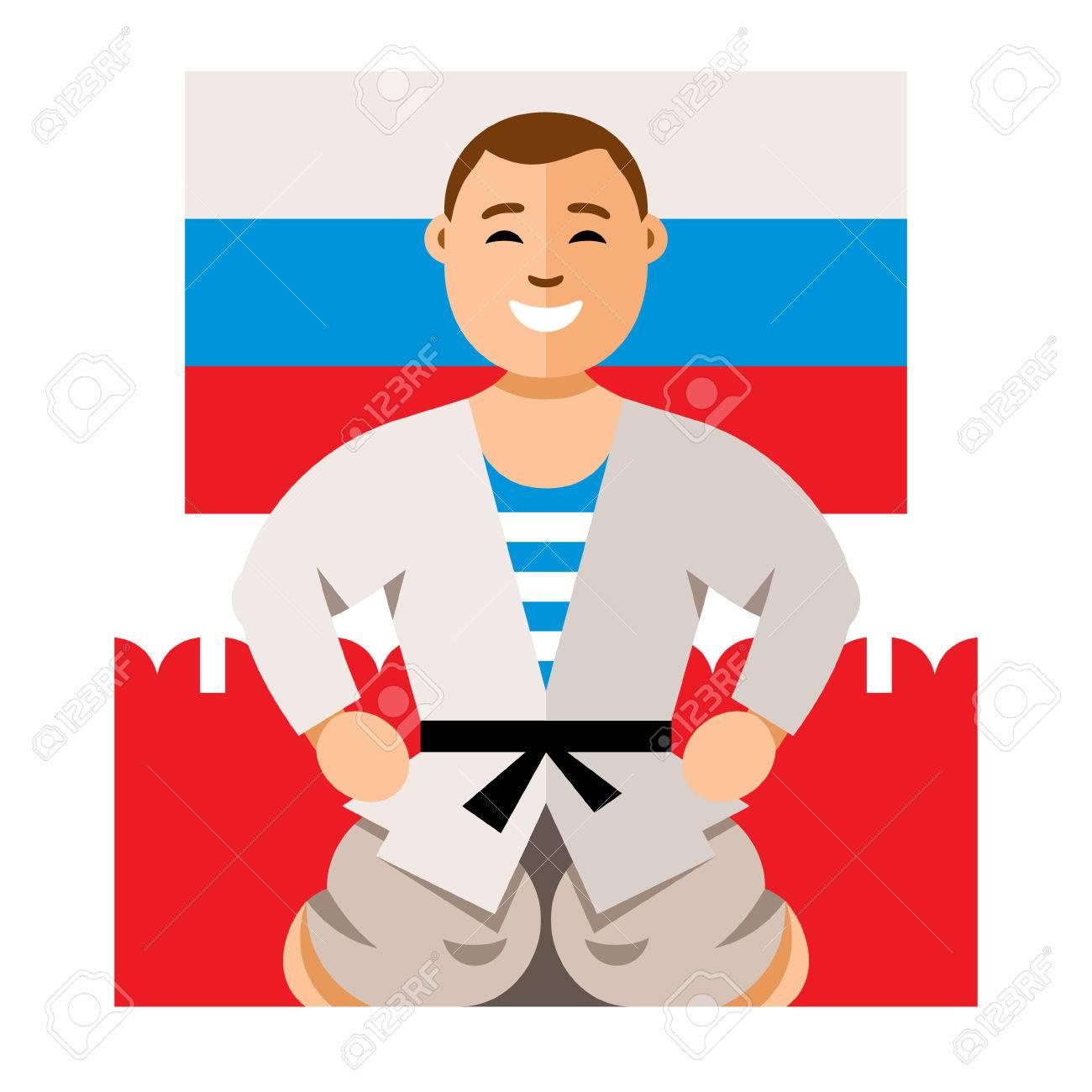 ベクトル ロシア人男性のユーモアの概念フラット スタイル カラフルな