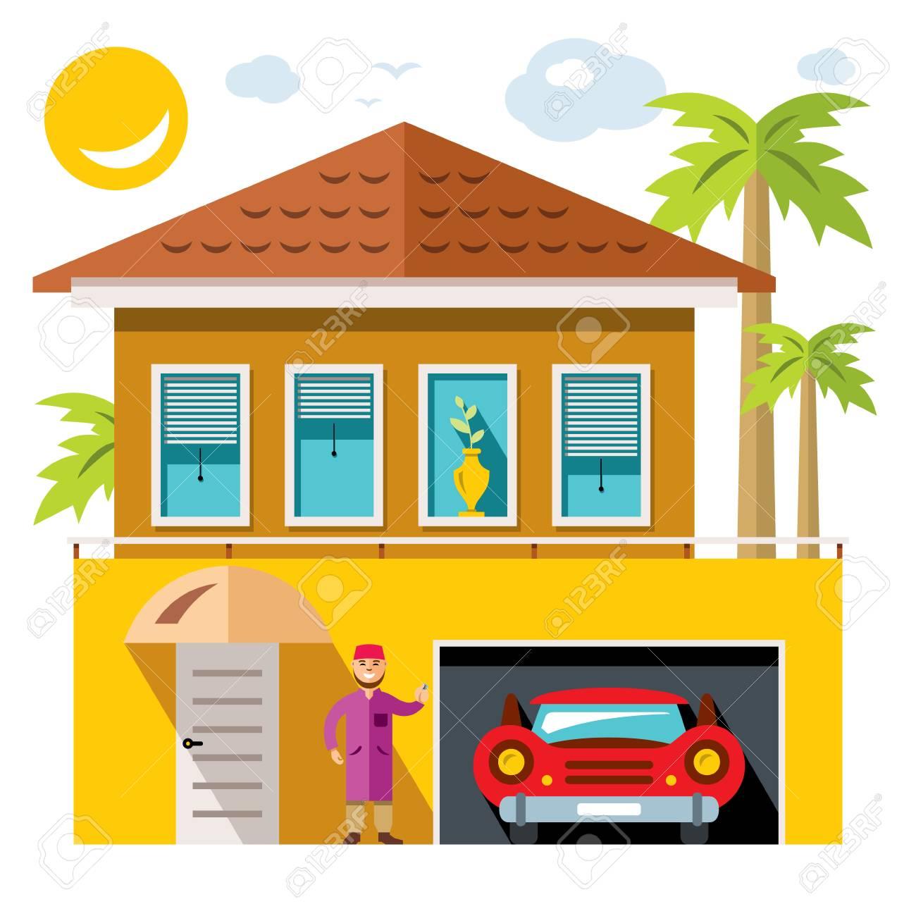 Maison De Luxe Vectorielle Illustration De Dessin Animé Coloré Et Plat