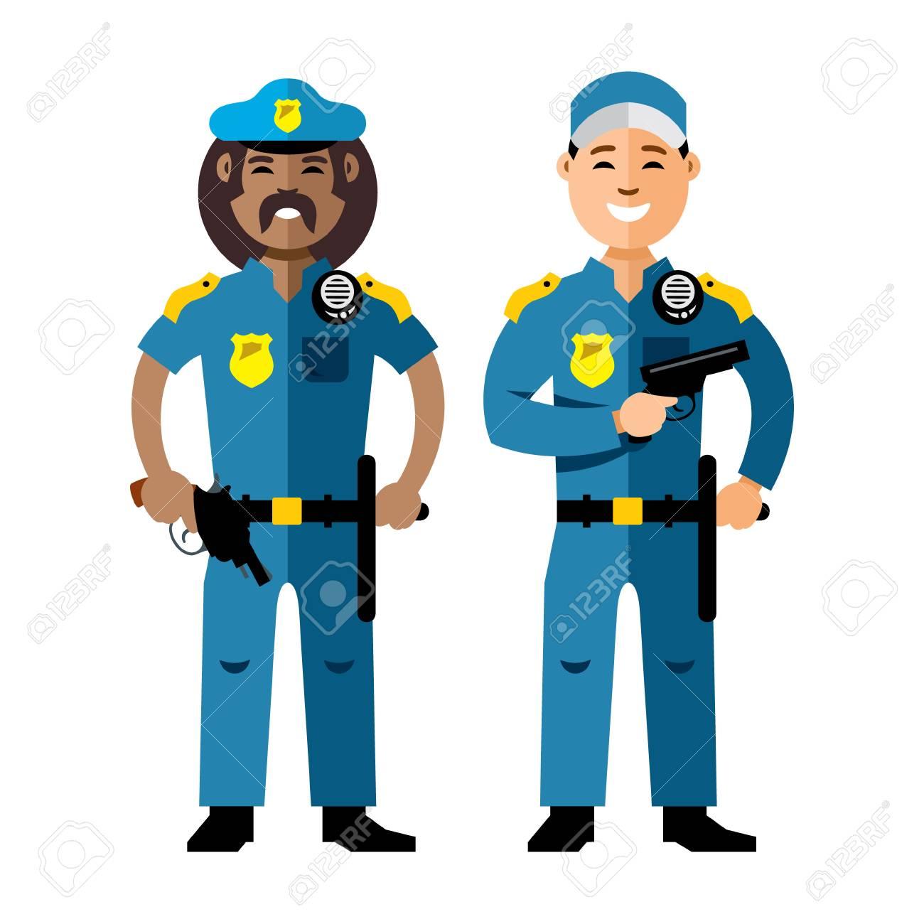 vector police policeman flat style colorful cartoon illustration rh 123rf com police vector logo police vectorielle