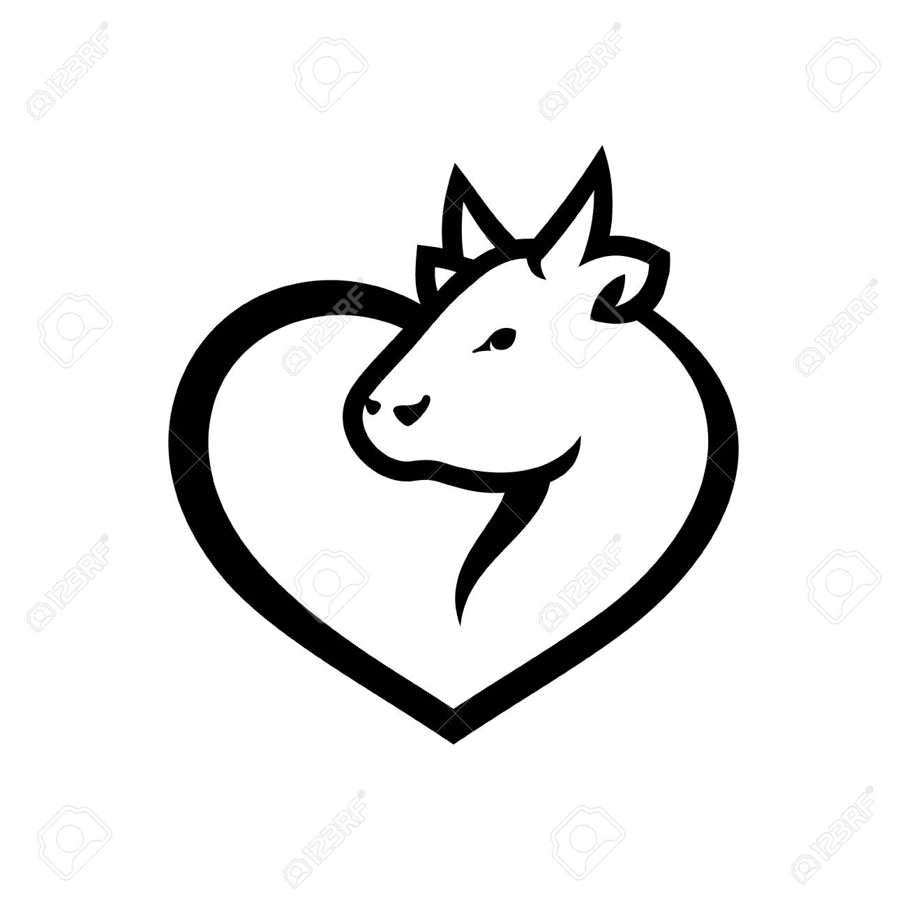 Cow Head And Heart Symbol Isolated On White Background Royalty Free