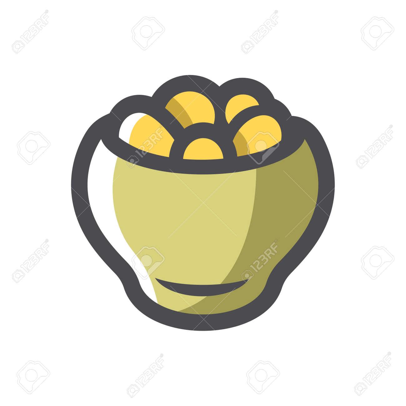 Potatoes in a pot Vector icon Cartoon illustration - 169914195