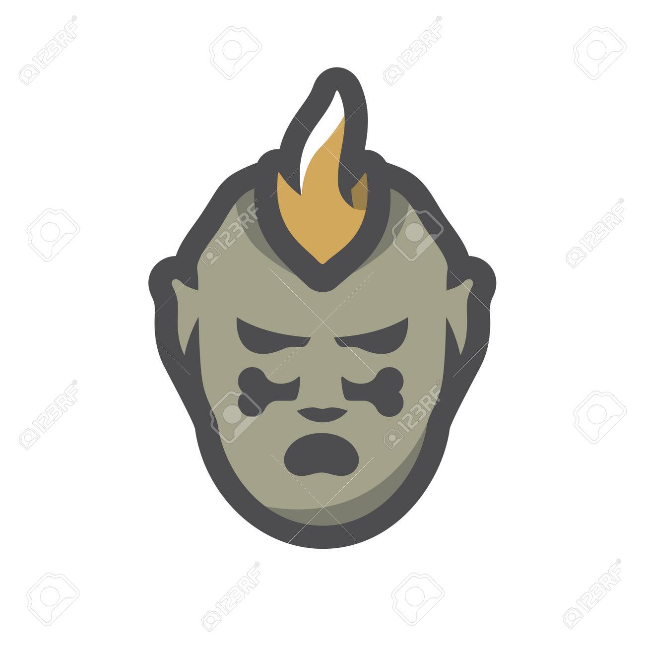 Tribal Warrior Cannibal Vector icon Cartoon illustration. - 169986777