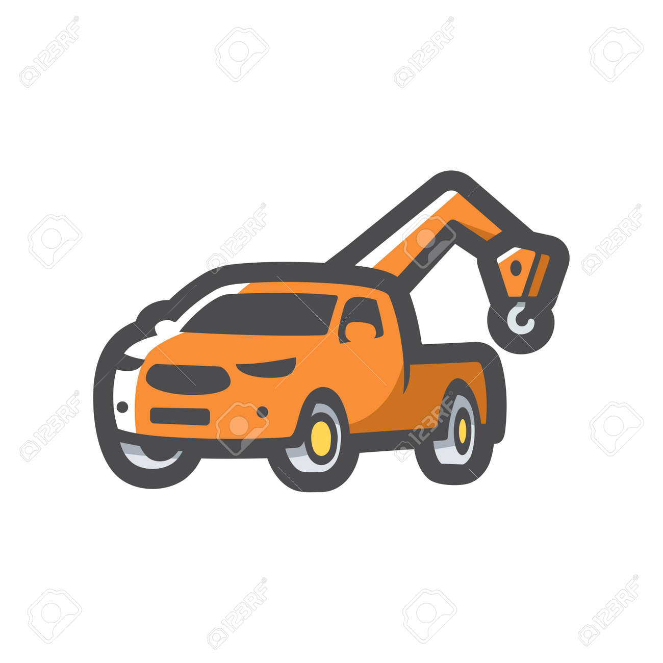 Tow wrecker pickup truck Vector icon Cartoon illustration. - 171392926