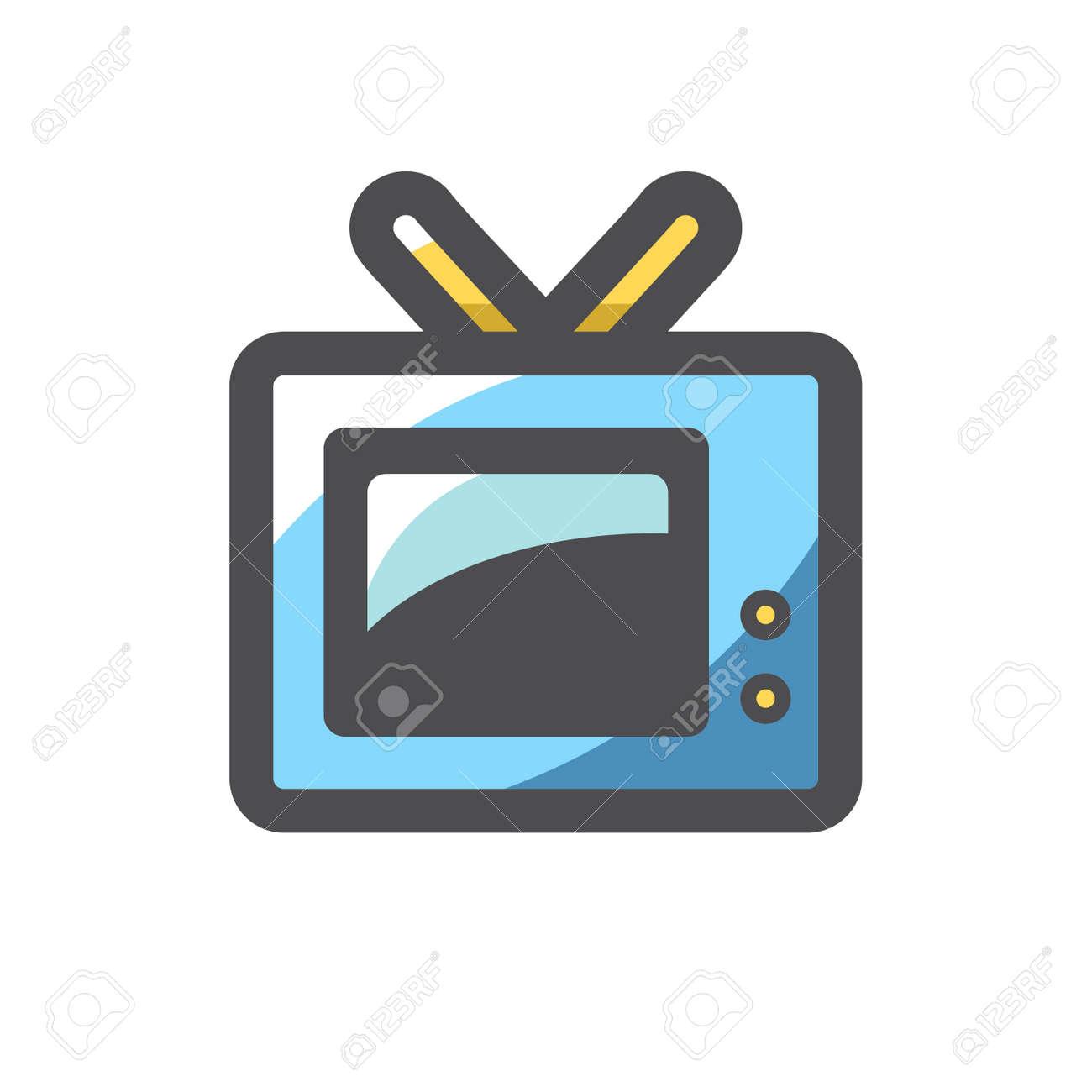 Old retro TV Vector icon Cartoon illustration. - 171392940