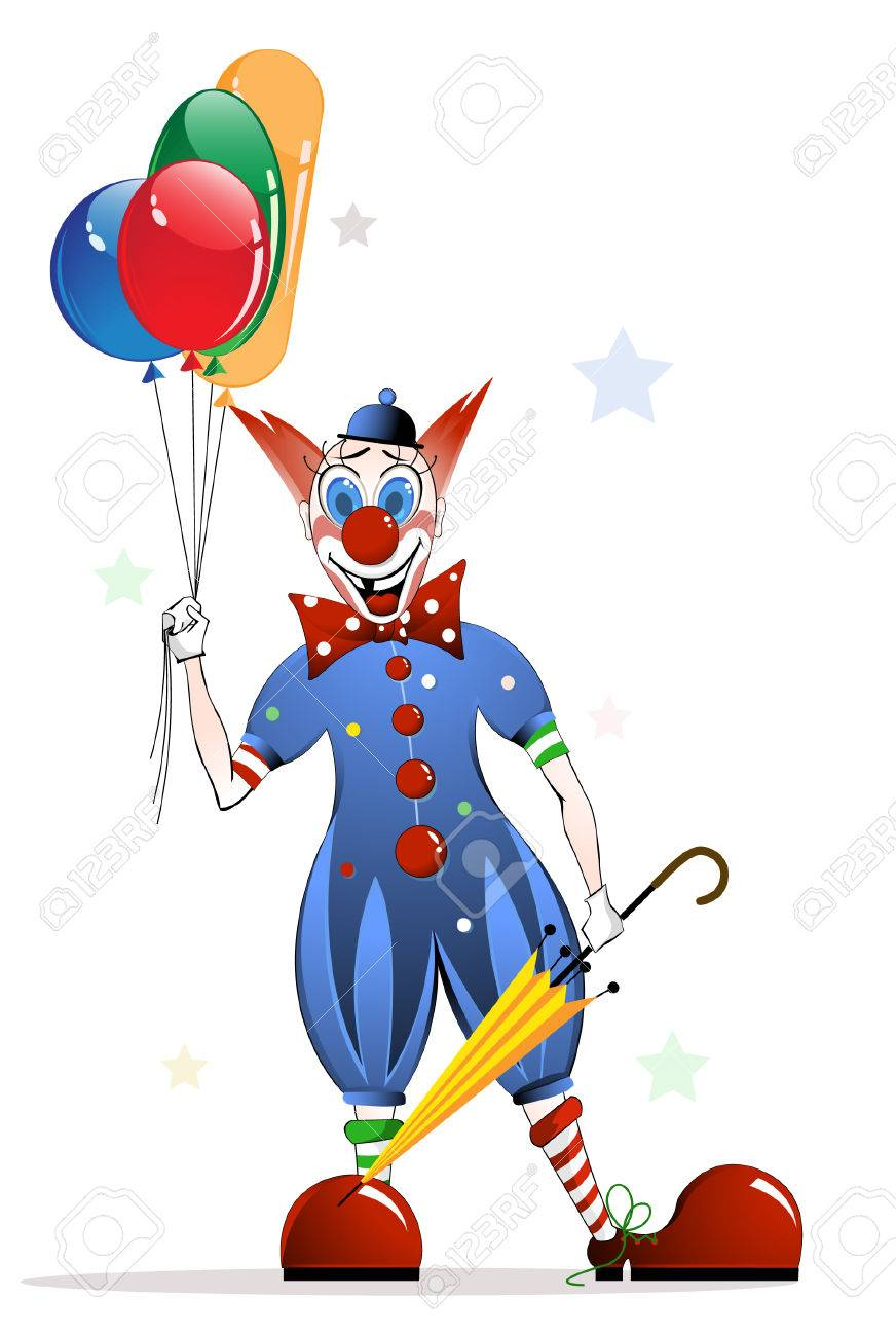 Cheerful clown with bright balloons - 8780864