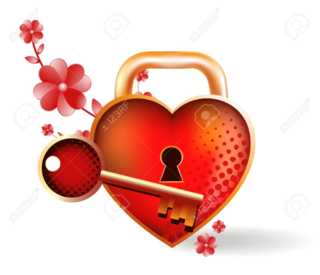 Heart- lock with a key. Bright vector illustration - 8780869