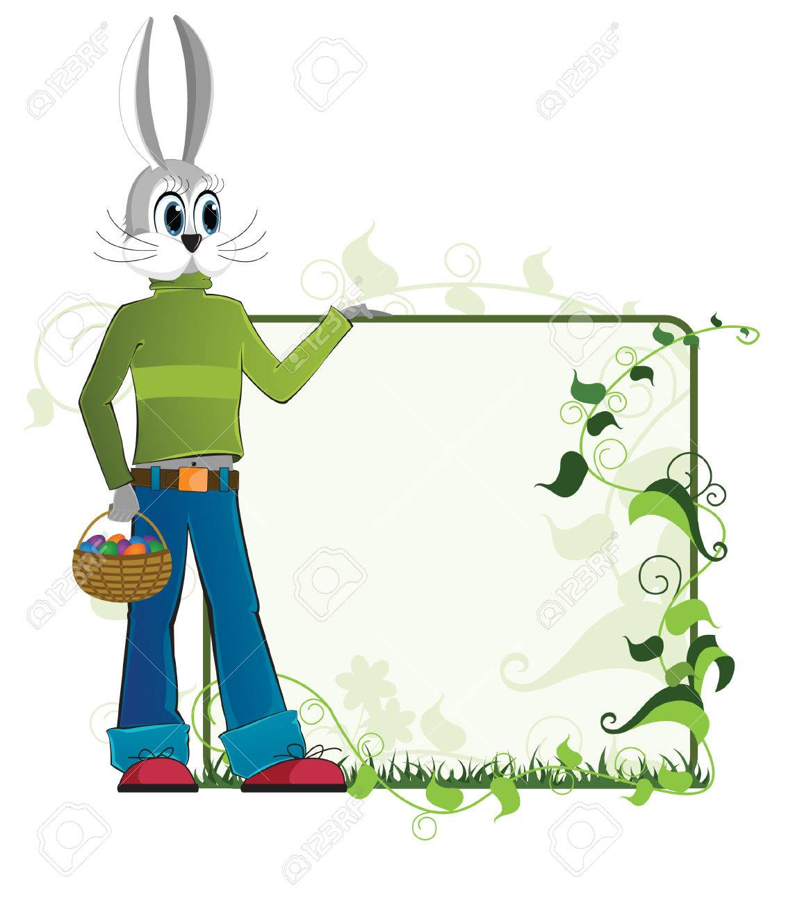 Easter rabbit  holding a basket of colored eggs. Stock Vector - 9044609