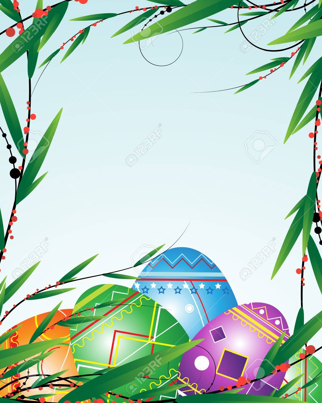 Easter eggs in a frame of spring branches Stock Vector - 9295383
