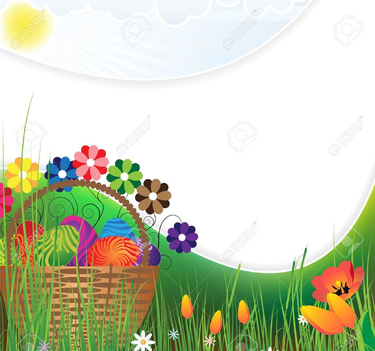 Basket with colored eggs and flowers on flowering meadow Stock Vector - 9295388