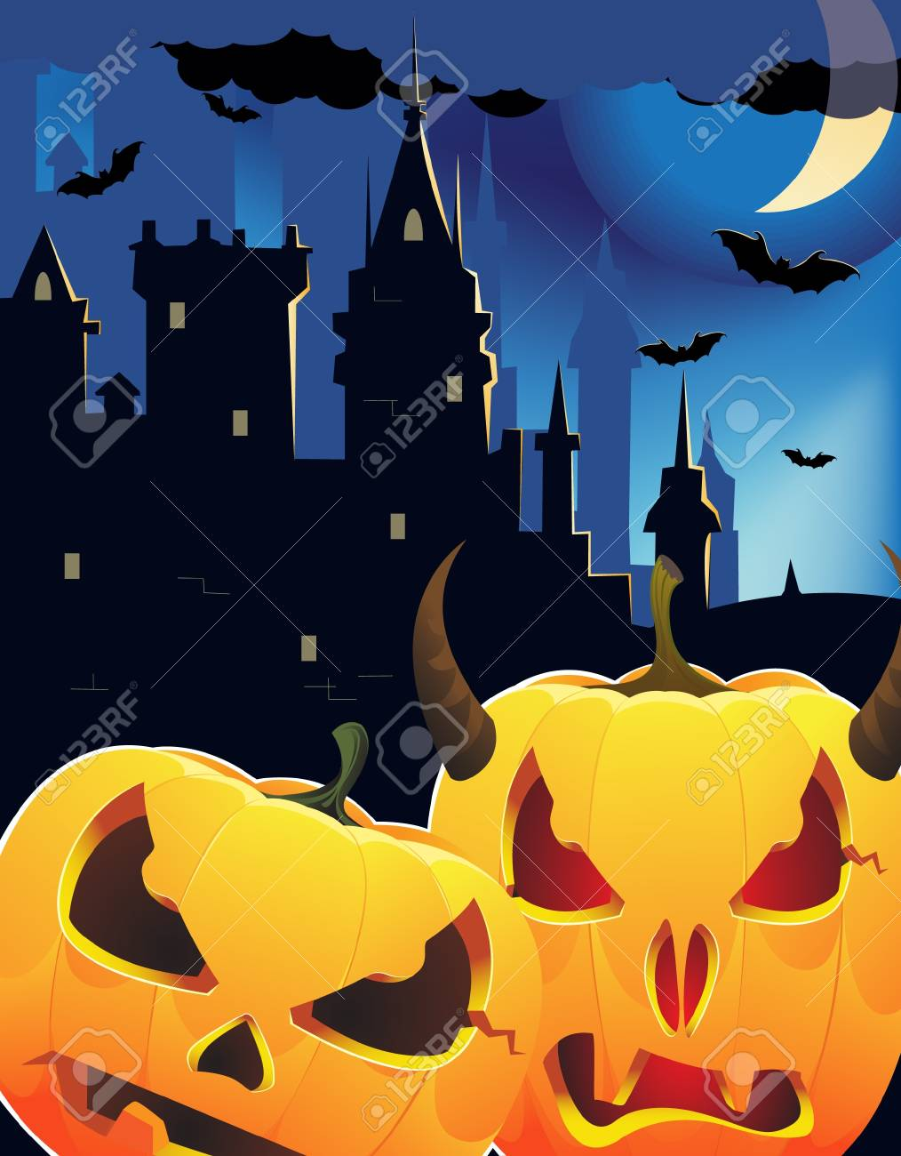 Pumpkin head monsters near the night castle Stock Vector - 10999851