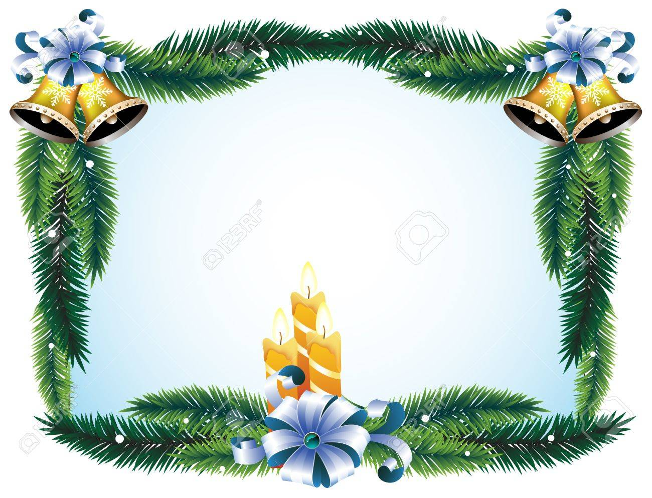 Christmas wreath with bows, candles and bells Stock Vector - 11528019