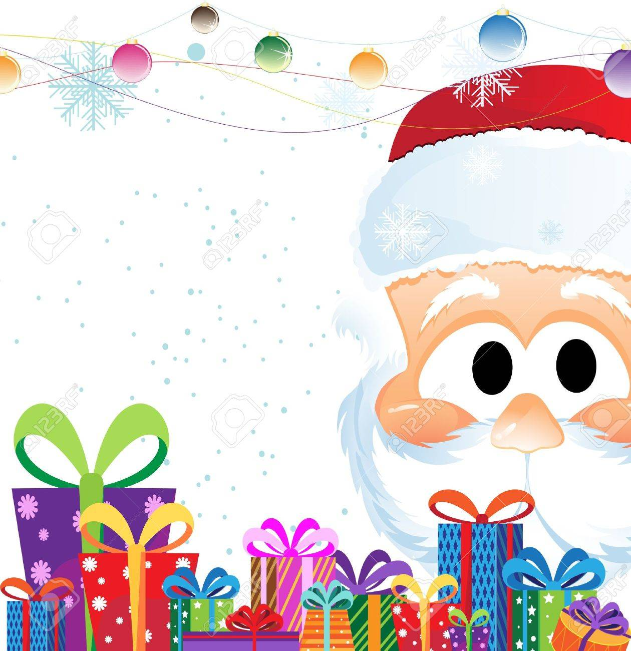 Santa Claus Head and heap of Christmas gifts on a white background - 11528015