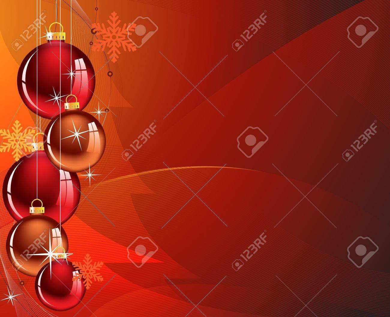 Christmas decorations in an abstract red background - 11528031